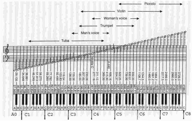 Diagram Of The Grand Staff Piano Keyboard Forte Piano ...
